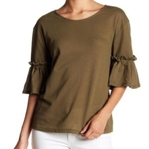 14th & Union Textured Olive Ruffle Sleeve Tee nwt